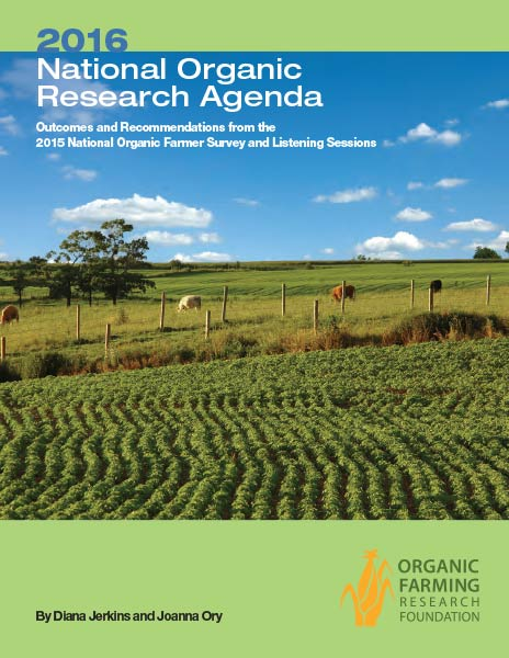 Photo of cover of the National Organic Research Agenda 2016 repor t