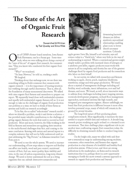 The State of the Art of Organic Fruit Research