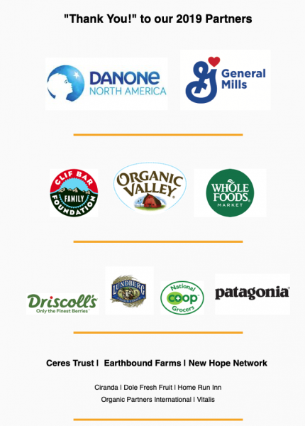 Graphic of OFRF sponsor logos: Danone; General Mills; Clif Bar Foundation; Organic Valley; Whole Foods: Driscoll's: Lundberg Rice; National Co-op Grocers; and Patagonia