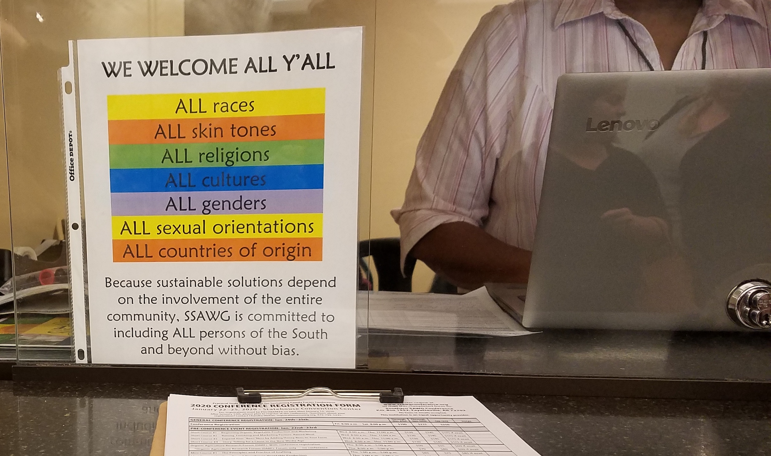 sign at registration welcomes all