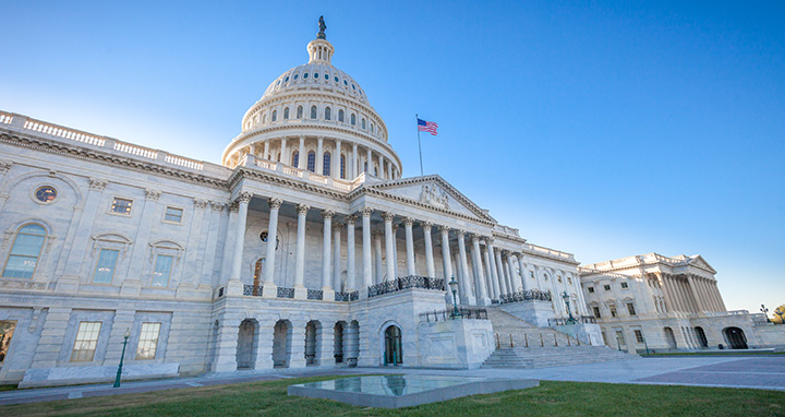 Low angled view of the U.S. Capitol East Facade Front in Washington, DC